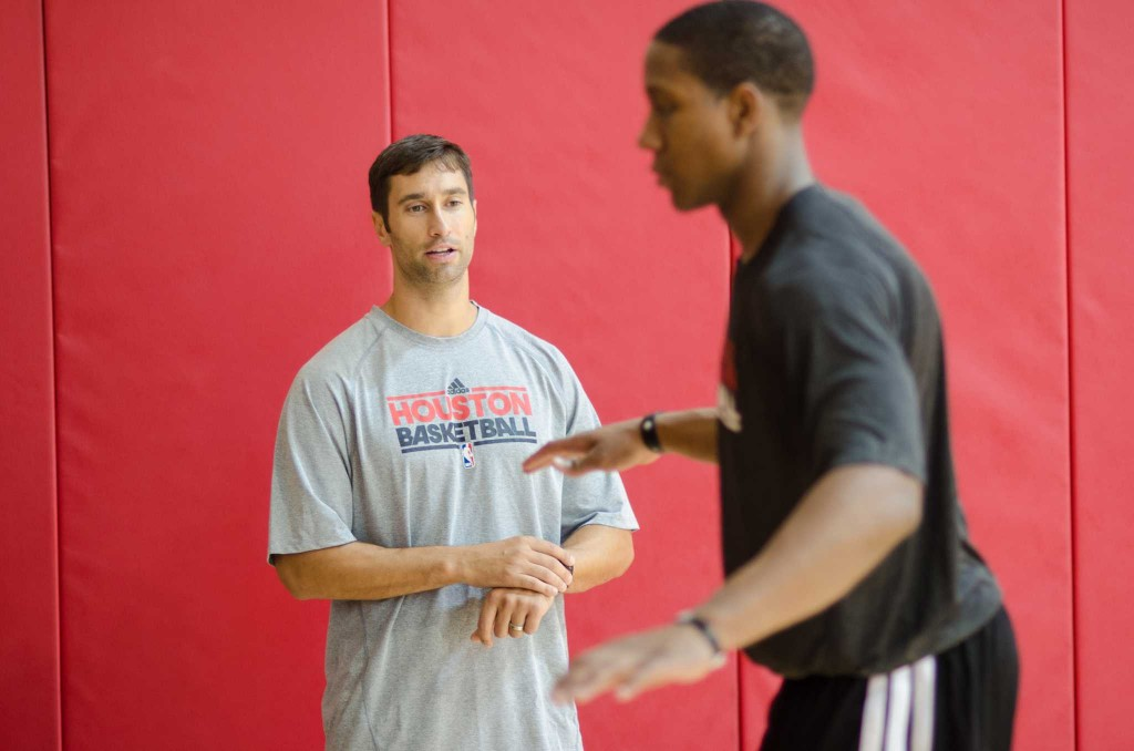 Rockets new Strength and Conditioning Coach Joe Rogowski works with Rookie Isaiah Canaan at a morning session at the Toyota Center in Downtown Houston TX on Thursday September 19th, 2013