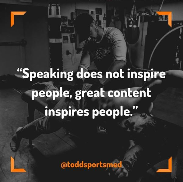 Creating Content; Todd Sabol; @ToddSportsMed